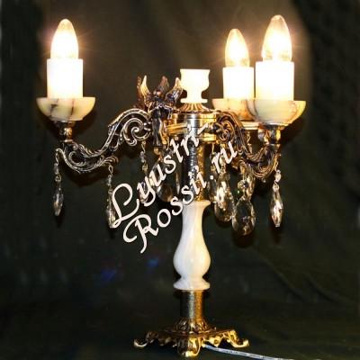 Настольная лампа Бронза 3 лампы +Оникс
