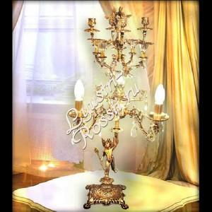 Настольная Лампа Бронз 3 ламы + Подсвечник 4 шт